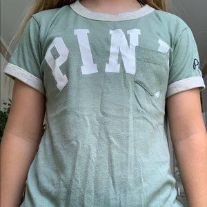 Victoria Secret PINK green and white/gray tee.